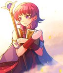 1girl book cape closed_mouth commentary fire_emblem fire_emblem:_seima_no_kouseki holding holding_book holding_staff hzk_(ice17moon) jewelry looking_to_the_side lute_(fire_emblem) necklace purple_eyes purple_hair sleeveless solo staff