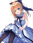 1girl :d absurdres ahoge artoria_pendragon_(all) bangs bare_arms bare_shoulders black_bow blue_eyes blush bow breasts brown_hair brown_legwear cleavage commentary_request dress eyebrows_visible_through_hair fate/unlimited_codes fate_(series) frilled_dress frills hair_between_eyes hair_bow head_tilt high_ponytail highres long_hair looking_at_viewer medium_breasts open_mouth pantyhose ponytail saber_lily simple_background sitting sleeveless sleeveless_dress smile solo suisen-21 white_background white_dress