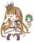 2girls :i :t ;d annoyed blonde_hair blue_hair blush brown_hair chibi clenched_hands crown galaco goggles goggles_on_head green_eyes green_hair gumi highres long_hair microphone multicolored_hair multiple_girls n03+ one_eye_closed open_mouth orange_eyes pink_hair pose pout smile star streaked_hair very_long_hair vocaloid