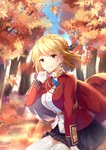 1girl absurdres arm_support autumn_leaves azur_lane bangs blonde_hair blue_sky blurry blurry_background blush braid breasts chain crown_braid day earrings eyebrows_visible_through_hair floating_hair french_braid gloves gold_trim hair_ornament hand_up highres jacket jewelry large_breasts light_particles looking_at_viewer outdoors prince_of_wales_(azur_lane) red_eyes red_jacket short_hair sidelocks sitting sky smile solo thighhighs thighs tree white_gloves white_legwear wind yuu_li_(glass)