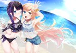 2girls :d arm_up bangs bare_shoulders beach bikini bikini_under_clothes black_bikini black_hair blue_bikini blue_eyes blue_shorts blue_sky bottle braid closed_mouth cloud collarbone commentary_request day heterochromia highres holding holding_bottle horizon kitasaya_ai light_brown_hair long_hair multicolored_hair multiple_girls navel ocean one_eye_closed open_mouth orange_scrunchie original outdoors purple_hair round_teeth sand scrunchie short_shorts shorts single_braid sky smile sunlight swimsuit teeth transparent two-tone_hair upper_teeth very_long_hair water wrist_scrunchie
