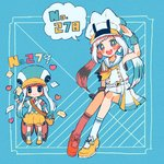 10_pmd 2girls anchor aqua_gloves bangs black_eyes blue_eyes blush borrowed_design commentary_request envelope full_body gloves hand_up hat heart highres looking_at_viewer multiple_girls neckerchief no_nose number orange_footwear orange_neckwear orange_shorts pelipper personification pleated_skirt pokemon pokemon_number puffy_shorts sailor_collar short_sleeves shorts skirt sleeveless smile socks speech_bubble twintails wingull