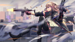 1girl absurdres action ar-15 armor asymmetrical_legwear bangs battle black_footwear black_gloves black_legwear blurry bullet bullet_trail casing_ejection cityscape commentary_request depth_of_field dual_wielding eyebrows_visible_through_hair firing floating_hair from_side girls_frontline gloves gun hair_between_eyes hair_ornament half_gloves handgun highres holding holding_gun holding_weapon holster honey_badger_(gun) jacket jumping long_hair magazine_(weapon) multicolored_hair muzzle_flash one_side_up parted_lips pink_gloves pink_hair red_eyes remodel_(girls_frontline) rifle scarf scope shaded_face shell_casing skirt smoke solo splashing st_ar-15_(girls_frontline) streaked_hair thigh_holster thigh_strap thighhighs thighs torn_jacket trigger_discipline weapon wind wind_lift wu_lun_wujin