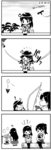 ! 3girls 4koma ahoge akagi_(kantai_collection) bird black_hair bow_(weapon) campfire comic food hakama haori heart highres japanese_clothes kaga_(kantai_collection) kantai_collection kneehighs log long_hair monochrome multiple_girls muneate onigiri otoufu roasting sandals school_uniform serafuku side_ponytail thermos thighhighs translated tree ushio_(kantai_collection) weapon