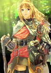 1girl belt black_legwear blonde_hair cape commentary_request dappled_sunlight day fantasy fingerless_gloves forest gloves hair_tubes highres long_hair long_sleeves nature original outdoors pouch rokutowa sheath sheathed solo sunlight sword thighhighs walking_stick weapon