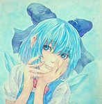1girl acrylic_paint_(medium) blue_background blue_eyes blue_hair bow bowtie cirno graphite_(medium) hair_bow hands_on_own_cheeks hands_on_own_face head_tilt ice ice_wings light_smile lips looking_at_viewer pose short_hair solo touhou traditional_media upper_body watercolor_(medium) wings yuyu_(00365676)