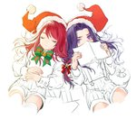 2boys berserker_(fate/zero) book bow child chongning closed_eyes covered_mouth fate/grand_order fate/zero fate_(series) hat long_hair looking_at_viewer male_focus multiple_boys partially_colored purple_eyes purple_hair red_hair santa_costume santa_hat shorts suspender_shorts suspenders tristan_(fate/grand_order) younger