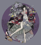 1girl animal_print ball bird black_hair card crane_(animal) empty_eyes fan flower folding_fan full_body japanese_clothes kimono leaf lips long_hair looking_at_viewer lying muted_color nekosuke_(oxo) original pale_skin sandals solo