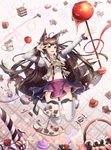 1girl abstract_background absurdres ahoge animal_ears basket black_hair blurry bow cake candy cherry coffee coffee_cup cup depth_of_field disposable_cup doughnut food fox_ears fox_tail frilled_shirt frills fruit hair_bow hand_up heart highres jumping keis_(locrian1357) lollipop long_hair midriff miniskirt multiple_tails neck_ribbon original pose purple_eyes ribbon shirt skirt smile solo staff star suspenders tail thighhighs zettai_ryouiki