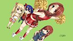 4girls :< cheerleader child d: end_card erza_scarlet fairy_tail flare_corona highres lucy_heartfilia mashima_hiro multiple_girls official_art open_mouth plue pom_poms scar skirt wendy_marvell younger