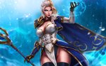 1girl artist_name blonde_hair blue_background blue_eyes braid breasts cape cleavage closed_mouth cowboy_shot dandon_fuga elbow_gloves gloves holding holding_staff jaina_proudmoore leotard lips long_hair looking_at_viewer multicolored_hair pauldrons pelvic_curtain shoulder_armor silver_hair solo staff thighhighs two-tone_hair warcraft world_of_warcraft