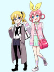 2girls akechi_kokoro alternate_costume aqua_background arm_behind_back bag belt bespectacled black_footwear black_legwear black_neckwear blonde_hair blue_eyes bow bowtie buckle buttons cardigan casual collared_shirt copyright_name dot_nose earrings english eye_contact eyebrows eyebrows_visible_through_hair eyelashes full_body glasses green_skirt grey_cardigan hair_ornament hair_rings hairband hand_in_pocket height_difference jacket jewelry keychain letterman_jacket long_hair long_sleeves looking_at_another multiple_girls neckerchief one_leg_raised open_clothes open_hand open_jacket pantyhose pantyhose_under_shorts pink_hair pocket pointing raised_eyebrow ribbon ringlets saiko_dagashi scrunchie sherlock_shellingford shirt shoelaces shoes shorts shoulder_bag simple_background skirt sneakers socks star star_print striped striped_bow striped_legwear striped_neckwear talking tantei_opera_milky_holmes tareme tsurime twintails walking white_footwear white_shirt yellow_hairband yellow_ribbon