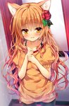 1girl :  animal_print black_legwear blush bra_strap cat_print clenched_hands closed_mouth collarbone commentary_request cowboy_shot eyebrows_visible_through_hair flower hair_flower hair_ornament hands_on_own_chest hands_together huei_nazuki long_hair long_shirt looking_at_viewer orange_hair original parted_lips red_flower red_rose rose solo thighhighs wavy_hair yellow_eyes
