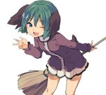 1girl animal_ears aqua_eyes bangs bent_over blush breasts broom cowboy_shot dog_ears dress eyebrows_visible_through_hair green_hair hair_between_eyes happy hasebe_yuusaku holding holding_broom kasodani_kyouko long_sleeves looking_at_viewer one_eye_closed open_mouth outline purple_dress shiny shiny_hair short_hair simple_background skirt small_breasts smile solo thighs touhou v white_background white_skirt