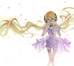 1girl absurdly_long_hair absurdres bangs blonde_hair blue_eyes blush cable detached_sleeves digital_media_player dress garters glasses hair_ornament hairclip headphones highres leaf long_hair looking_at_viewer maple_leaf orange_ribbon original ribbon sakuya_tsuitachi solo thigh_gap very_long_hair white_background white_dress x_hair_ornament