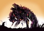 androgynous blurry commentary damaged debris depth_of_field eva_01 from_side glowing glowing_eyes gradient hanging justin_currie_(chasingartwork) mecha neon_genesis_evangelion pilot_suit plugsuit restrained ruins size_difference