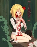 1girl bangs blonde_hair blood blood_from_mouth blood_on_face bloody_clothes bloody_hands bottomless bow buttons collared_shirt commentary_request corpse disembodied_limb empty_eyes eyebrows_visible_through_hair gap guro hair_bow highres long_sleeves looking_at_viewer miyo_(ranthath) open_mouth outdoors red_bow red_eyes rumia shirt shoes short_hair sitting socks torn_clothes torn_sleeves touhou white_legwear white_shirt