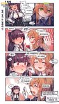 2girls 4koma aningay blush check_translation colorized comic girls_frontline gloves green_eyes highres korean_text long_hair m1903_springfield_(girls_frontline) multiple_girls necktie partially_translated red_eyes smile sweatdrop translation_request wa2000_(girls_frontline)