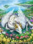 blue_sky closed_eyes cloud cloudy_sky commentary dragon feathers floating_island flower grass highres meadow monster no_humans official_art outdoors red_flower seisen_cerberus sky sleeping watermark z.dk
