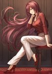 1girl alternate_costume arm_support breasts casual chair commentary_request contemporary fate/grand_order fate_(series) from_side full_body hair_between_eyes hair_over_shoulder high_heels highres indoors jewelry large_breasts long_hair long_sleeves looking_at_viewer mashu_003 pants pendant purple_hair red_carpet red_eyes red_footwear red_shirt scathach_(fate)_(all) scathach_(fate/grand_order) shirt sidelocks sitting tsurime very_long_hair wall white_pants
