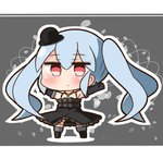 1girl black_dress black_footwear black_gloves black_hat blush boots brown_background chibi closed_mouth commentary_request dress elbow_gloves eyebrows_visible_through_hair full_body gloves granblue_fantasy grey_hair hana_kazari hands_up hat jewelry jitome looking_at_viewer necklace orchis outline shingeki_no_bahamut solo standing top_hat twintails white_outline