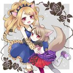 2girls :d animal_ears asymmetrical_clothes blonde_hair breasts brown_hair cheetah_ears cheetah_tail cheety_(show_by_rock!!) child commentary_request dress fang fennery_(show_by_rock!!) fox_ears frilled_dress frills fur-trimmed_boots fur_trim grey_background hand_on_another's_head heart hug light_brown_hair long_hair long_sleeves multicolored_hair multiple_girls nail_polish open_mouth pantyhose purple_footwear red_eyes red_nails rose_background shirt short_hair show_by_rock!! simple_background skirt sleeveless smile streaked_hair two-tone_background white_background yaku_aji