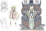 1girl :d anklet azure_striker_gunvolt barcode_tattoo bare_shoulders blonde_hair bracelet cable character_sheet choker cleavage_cutout coat commentary_request concept_art detached_sleeves eyebrows eyebrows_visible_through_hair from_behind full_body hair_ornament hair_ribbon hairclip halterneck hand_on_hip highres jewelry joule_(gunvolt) leotard light_smile long_hair looking_at_viewer mecha official_art one_eye_closed open_mouth orange_eyes raised_eyebrows ribbon shoes sidelocks simple_background sketch skin_tight smile standing tattoo tied_hair very_long_hair white_background white_ribbon white_shoes