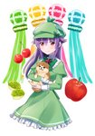 1girl animal animal_hug apple bangs blush bow cherry closed_mouth commentary_request dog dress eyebrows_visible_through_hair food frilled_dress frills fruit green_bow green_capelet green_dress green_hat hair_between_eyes hair_flaps hat hercule_barton highres long_hair long_sleeves mugi_(iccomae) plaid_hat purple_hair red_apple red_eyes smile solo tantei_opera_milky_holmes white_background