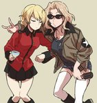 2girls black_skirt black_tank_top blonde_hair bomber_jacket braid closed_eyes coke_bottle commentary_request darjeeling demon_horns denim denim_shorts dog_tags french_braid girls_und_panzer hair_intakes horns jacket kay_(girls_und_panzer) knees_together multiple_girls ree_(re-19) saunders_school_uniform shorts skirt st._gloriana's_military_uniform sunglasses tan_background tank_top thighhighs white_legwear
