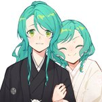 2girls ^_^ aqua_hair arm_hug bang_dream! black_kimono bow braid closed_eyes commentary_request green_eyes hair_bow hikawa_hina hikawa_sayo incest japanese_clothes kimono looking_at_viewer multiple_girls parted_lips ponytail shiromuku siblings sidelocks simple_background sisters smile twin_braids twincest twins uchikake upper_body wedding white_background white_kimono wife_and_wife yellow_bow yuri yuyuyugoonn