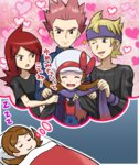 1girl 3boys brown_hair closed_eyes dreaming futon harem hat hat_ribbon heart jacket jacket_removed kotone_(pokemon) male_harem matsuba_(pokemon) multiple_boys overalls pokemoa pokemon pokemon_(game) pokemon_hgss ribbon scarf_removed silver_(pokemon) sleeping thought_bubble twintails wataru_(pokemon)