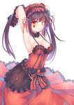 1girl armpits black_hair breasts cleavage clock_eyes collar date_a_live dress hairband heterochromia highres lolita_fashion lolita_hairband long_hair orange_eyes qiongsheng red_dress smile solo symbol-shaped_pupils tokisaki_kurumi twintails