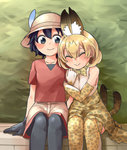 2girls :> animal_ears apple12th black_eyes black_hair blush blush_stickers bucket_hat closed_eyes commentary_request feathers happy hat highres kaban_(kemono_friends) kemono_friends multiple_girls pantyhose serval_(kemono_friends) serval_ears serval_print serval_tail smile tail tail_wagging thighhighs