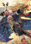 1girl alteil armor belt blonde_hair blue_eyes boots breasts cape cleavage explosive gloves grenade gun holding holding_gun holding_weapon long_hair looking_at_viewer pants sheath sheathed small_breasts solo sword takayama_toshiaki weapon white_gloves