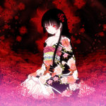 1girl bangs black_hair blunt_bangs breasts cleavage enma_ai floral_background floral_print flower hair_flower hair_ornament hime_cut japanese_clothes jigoku_shoujo kimono long_hair red_eyes small_breasts solo spider_lily yasuyuki