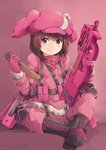 1girl bangs blush boots brown_hair bullpup commentary cross-laced_footwear elbow_pads full_body fur-trimmed_jacket fur_trim gloves gun hat hiroki_ree holding holding_gun holding_weapon jacket knee_pads llenn_(sao) load_bearing_vest long_sleeves looking_at_viewer magazine_(weapon) military military_uniform p90 pants pink pink_eyes pink_gloves pink_hat pink_jacket pink_neckwear pink_pants pink_scarf scarf short_hair sitting smile solo submachine_gun sword_art_online sword_art_online_alternative:_gun_gale_online trigger_discipline uniform weapon