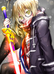 1girl bangs black-framed_eyewear black_legwear blonde_hair blue_skirt blush braid covered_mouth duffel_coat excalibur eyebrows_visible_through_hair fate/grand_order fate_(series) french_braid fringe garter_straps glasses glowing glowing_sword glowing_weapon hair_between_eyes hair_bun heroine_x heroine_x_(alter) highres holding holding_sword holding_weapon knee_up looking_at_viewer plaid plaid_scarf pleated_skirt red_scarf saber scarf semi-rimless_glasses short_hair_with_long_locks sidelocks sitting skirt snow solo suishougensou sword thighhighs under-rim_glasses weapon yellow_eyes