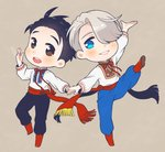 2boys :d black_hair blue_eyes brown_eyes hair_over_one_eye hair_slicked_back holding_hands jewelry katsuki_yuuri male_focus multiple_boys open_mouth pants ring ruei_(chicking) russian_clothes sash silver_hair smile sparkle standing standing_on_one_leg viktor_nikiforov yuri!!!_on_ice