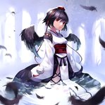 1girl bad_id black_hair feathered_wings feathers hat kourindou_tengu_costume long_sleeves looking_at_viewer obi partially_submerged red_eyes revision ribbon_trim sash settyaro shameimaru_aya short_hair solo tokin_hat touhou water wings