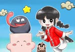 1girl animated april_fools black_eyes black_footwear black_hair braid chao_(yuyuki) chinese_clothes cloud crossed_arms cube famicom_mukashibanashi:_yuyuki goku_(yuyuki) gooey heart kicdon kirby kirby's_dream_land_3 kirby_(series) long_tongue looking_at_viewer monkey mp4 outline pants sidelocks smile standing standing_on_one_leg star tangzhuang tongue twin_braids white_outline white_pants