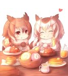2girls bangs bowl brown_eyes brown_hair butter chewing closed_eyes coat commentary_request cup curry drinking_glass eating eurasian_eagle_owl_(kemono_friends) eyebrows_visible_through_hair food food_on_face food_request fur_trim gloves hand_on_own_face heart holding holding_food holding_spoon ice ice_cube japari_bun kemono_friends long_sleeves looking_at_another matsuu_(akiomoi) medium_hair multicolored_hair multiple_girls napkin northern_white-faced_owl_(kemono_friends) pancake pitcher plate pom_pom_(clothes) pom_poms sitting spoon straw table white_background white_hair yellow_gloves