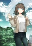 1girl bangs blue_eyes blue_pants blue_sky blush breasts brown_hair brown_jacket building closed_mouth cloud cloudy_sky collarbone commentary_request day denim eyebrows_visible_through_hair fingernails hair_between_eyes hair_ornament hairclip holding holding_umbrella jacket jeans kurata_rine long_hair long_sleeves looking_at_viewer open_clothes open_jacket original outdoors pants puffy_long_sleeves puffy_sleeves rain revision shirt sky skyscraper sleeves_past_wrists small_breasts solo transparent transparent_umbrella umbrella white_shirt white_umbrella