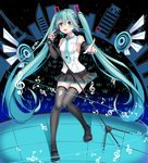 1girl :d absurdres bangs black_skirt blue_eyes blue_hair blue_neckwear boots breasts detached_sleeves eiffel_tower eyebrows_visible_through_hair full_body grey_footwear hair_between_eyes hatsune_miku headphones highres holding holding_microphone index_finger_raised long_hair medium_breasts microphone microphone_stand miniskirt musical_note necktie number open_mouth pleated_skirt rhode shirt sideboob skirt sleeveless sleeveless_shirt smile solo stage standing tattoo thigh_boots thighhighs twintails very_long_hair vocaloid white_shirt zettai_ryouiki