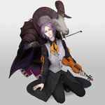 1boy black_footwear black_pants bow_(instrument) expressionless full_body goat instrument joshua_drac karenberg male_focus pants purple_hair shoes unlight vest violin yellow_eyes