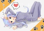 1girl :d animal_ear_fluff animal_ears arms_up bangs barefoot blue_hair blush cat_ears cat_girl cat_tail commentary_request crescent crescent_hair_ornament eighth_note eyebrows_visible_through_hair full_body grey_jacket grey_pants hair_ornament heart jacket kantai_collection knees_up long_hair long_sleeves looking_at_viewer lying musical_note on_back open_mouth pants signature smile solo sou_(soutennkouchi) spoken_heart tail track_jacket track_pants track_suit translated very_long_hair yayoi_(kantai_collection)