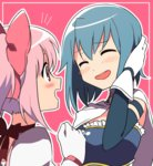 /\/\/\ 2girls :d ^_^ blue_hair blush bow cape closed_eyes frilled_shirt frills gloves hair_bow kaname_madoka magical_girl mahou_shoujo_madoka_magica miki_sayaka multiple_girls open_mouth pink_background pink_bow pink_eyes pink_hair puffy_short_sleeves puffy_sleeves red_bow sakana_(14894735) shirt short_hair short_sleeves simple_background smile twintails white_cape white_gloves