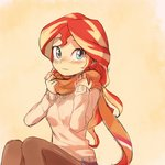 1girl baekgup blue_eyes long_hair looking_at_viewer multicolored_hair my_little_pony my_little_pony_equestria_girls pantyhose personification red_hair scarf simple_background solo streaked_hair sunset_shimmer sweater