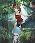 1girl :o alternate_color bare_shoulders bike_shorts bike_shorts_under_shorts black_eyes black_shorts blue_eyes blue_sky brown_eyes brown_hair bw_shazi closed_mouth dappled_sunlight day forest grass hair_ribbon hairband haruka_(pokemon) haruka_(pokemon)_(remake) highres in_tree nature open_mouth outdoors plant pokemon pokemon_(creature) pokemon_(game) pokemon_oras ralts red_ribbon ribbon seedot shiny_pokemon short_hair short_shorts shorts sky sleeveless standing sunlight tank_top tree two_side_up white_shorts wurmple yellow_sclera zigzagoon