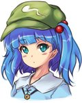 1girl bangs blue_dress blue_eyes blue_hair blunt_bangs blush dress expressionless eyebrows_visible_through_hair green_hat hair_bobbles hair_ornament hat jewelry jpeg_artifacts kawashiro_nitori looking_at_viewer mochi.f necklace short_hair short_twintails simple_background solo touhou twintails two_side_up upper_body white_background