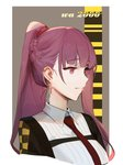 1girl absurdres bangs blazer blunt_bangs braid chain character_name checkered collared_shirt cross cross_earrings dokshuri earrings eyebrows_visible_through_hair girls_frontline half_updo highres jacket jewelry long_hair purple_eyes purple_hair red_neckwear shirt smile solo upper_body wa2000_(girls_frontline) white_shirt